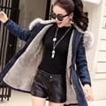 Winter Jacket for Women Denim Coat Big Faux Fur Collar Hooded Thick Padded Fleece Plus Size Fashion Women's Jeans Jackets Female