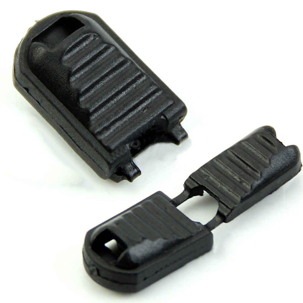 20 Cái/lốc Kết Thúc Zipper Phụ Kiện/Ba Lô/Túi Quần Áo Phụ Kiện Bán Buôn Khóa Zip Clip Buckle Đen Đối Paracord