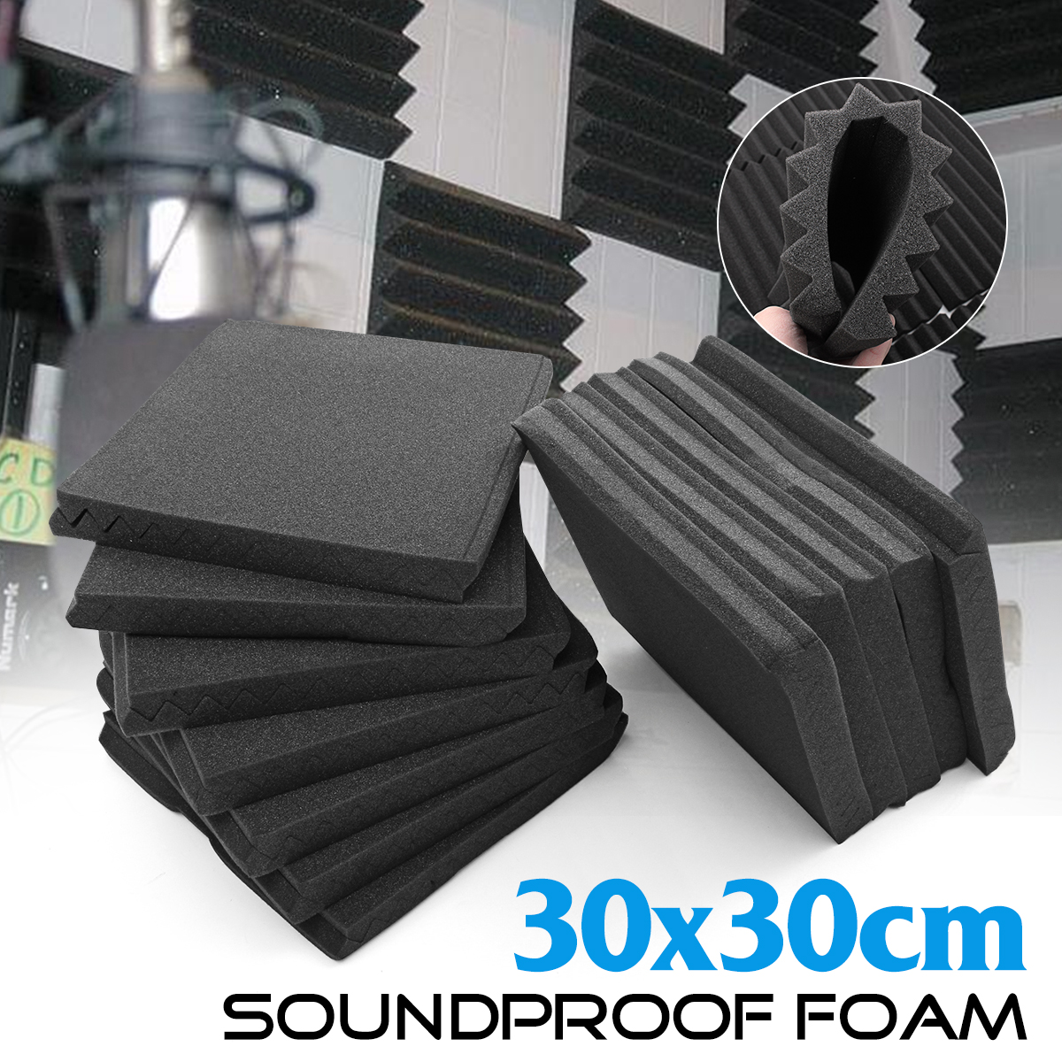 24Pcs 30x30cm Soundproofing Foam Acoustic Sponge Foam Treatment Studio Room Noise Absorption Wedge Tiles Polyurethane Foam foam