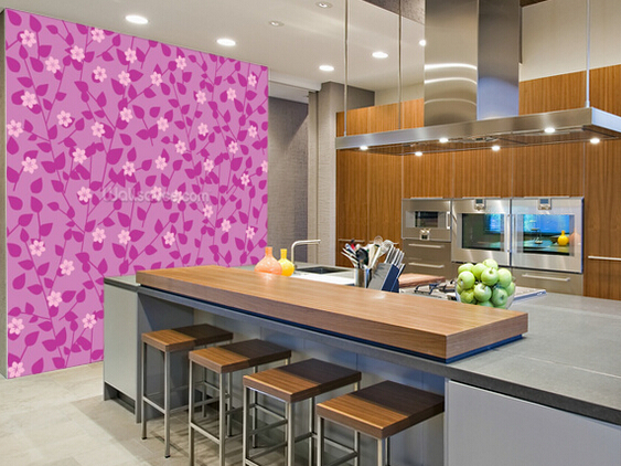 Custom floral wallpaper,Purple Floral,3D retro photo for living room ...