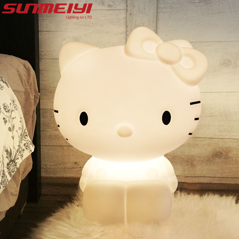 Kitty Cute cat LED Night Lights Children's Room Cartoon Lamp Christmas Gift Novelty Table Lamp Creative Desk Lamp 3D Lamps novelty smile face rainbow led night lights battery night lamps baby room nursery living room decor kids christmas gifts lamps