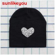 Sunlikeyou Unisex Newborn Winter Caps For Boy Girls Kids Love Rhinestone Cotton Soft Elastic Hat Beanie Bonnet Baby Cap