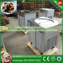 Selling 110V 220v round pan fried ice cream machine 900w fast freeze single pan fry ice cream machine r410a cream roll make