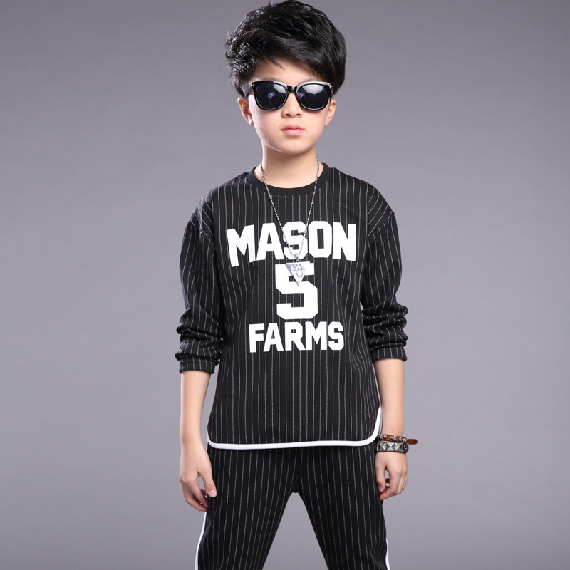 ФОТО baby teenage boys set clothing 2017 spring autumn children sets suit letter striped t shirts and pants sets kids boys tracksuit