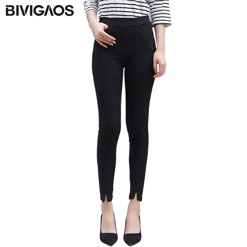 BIVIGAOS New Women's High Waist Front Split Black Leggings Spring Autumn Woven Casual Legging Trousers Slim Skinny Pencil Pants