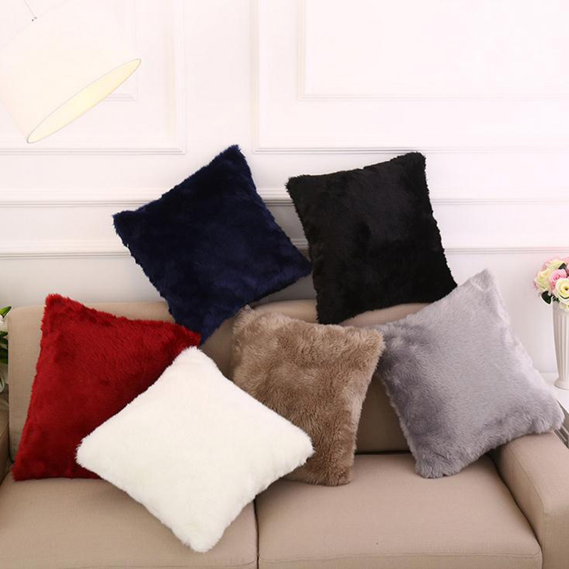 Super Soft Plush Cushions Cover Short Plush Square Sofa Chair Cushion Cover Throw Pillow Cases Decorbox 6 Colors ...
