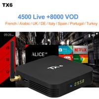 TX6 Smart Android 9.0 TV BOX Support France Box IPTV 1 Year IPTV Code Subscription WeinTV SUBTV Arabic French IP TV OTT Box