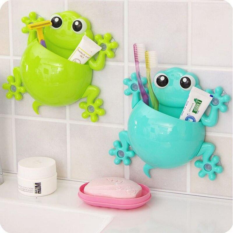 Cute Frog Holder Cute Turtle Bathroom Accessories Gecko Wall Brush Holder Suction Cup Cartoon Toothbrush Holder Rack Children