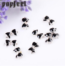 10 pcs 3D Alloy Rhinestones Nail Art Bow Tie Glitters Slice DIY Decoration Black Arco prego Hot New Magical 17Apr 24