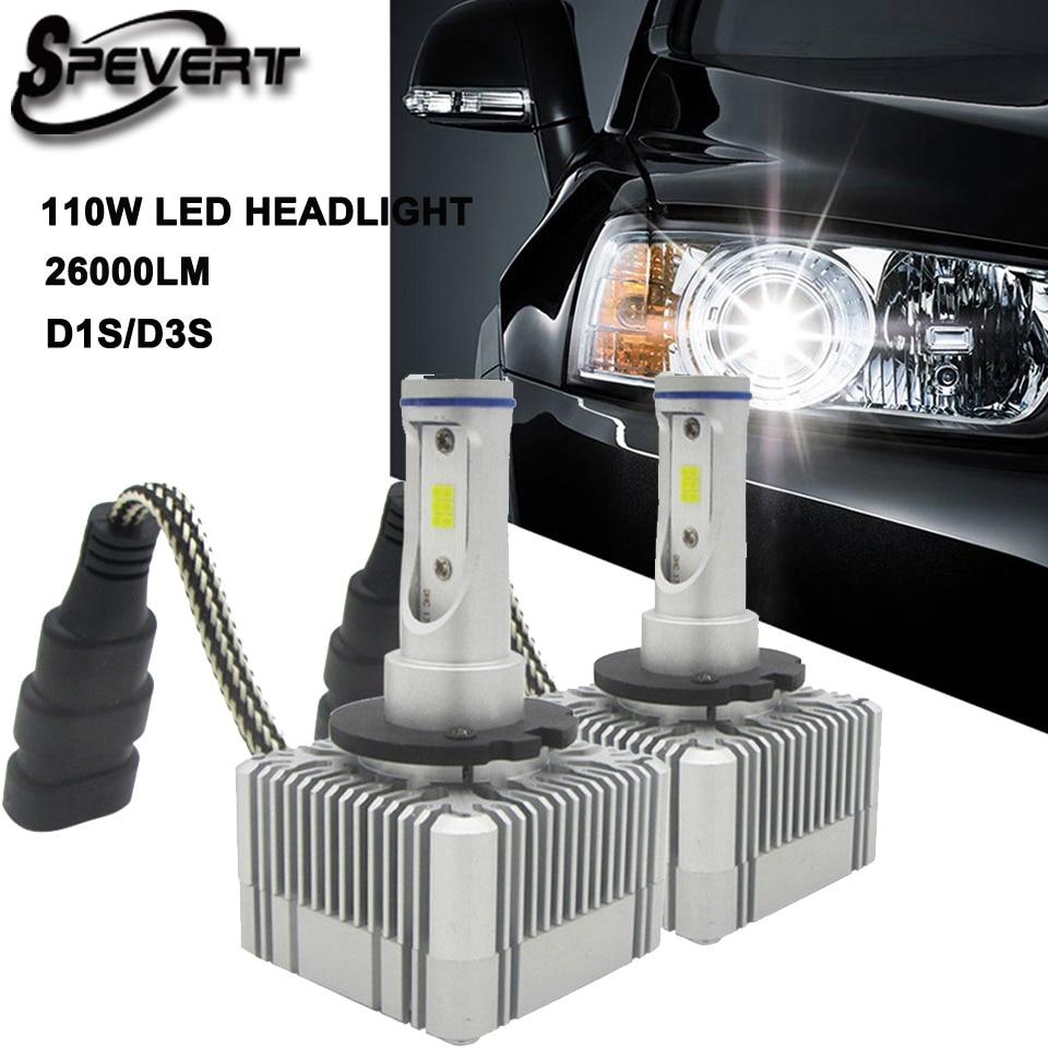SPEVERT D1S/D3S D2S/D4S H4 H7 H11 H1 H13 H3 9005 9006 9007 LED Car Headlight Bulb Hi-Lo Beam 110W 26000LM 6000K Headlamp 12v 24v s5 h4 h7 h11 h1 h13 h3 9004 9005 9006 9007 9012 cob led car headlight bulb hi lo beam 76w 8000lm 6500k auto headlamp 12v 24v