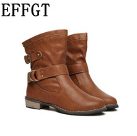2016 New Fashion Women Boots Female Spring Autumn Women Shoes Martin Boots Flat Vintage Square Heel