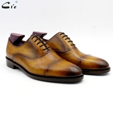 cie oxford patina captoe brown genuine calf leather mens shoe business ready shoe handmade can be quickly delivered or custom