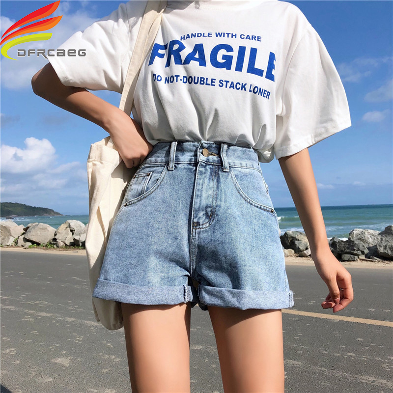 Wide Leg Denim   Shorts   Women Summer 2019 New Bottom Crimping Women's Jeans   Shorts   3 Colors Casual Loose   Short   Femme Hot Sale