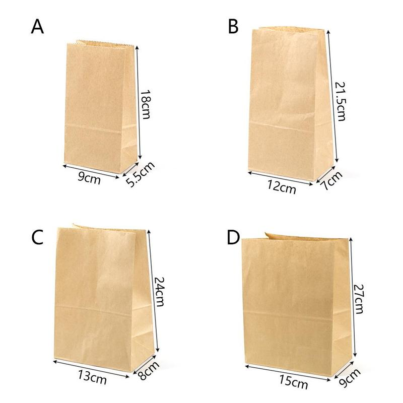 50pcs Kraft Paper Bag Breakfast Bag West Point Packaging Baking Bread Square Bottom Food Paper Bag Oil-proof Packaging Paper