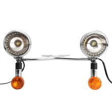 Chrome Motorcycle Headlight Set with Turn Signals Steel Moto Light Bar for Harley Davidson Honda Suzuki Kawasaki Yamaha Cruisers