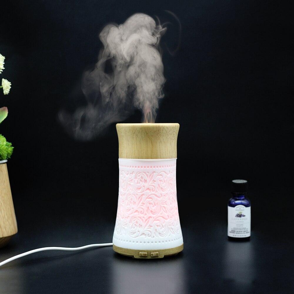 Coloré changeant lumière LED en bois creux diffuseur d'huile essentielle ménage arôme diffuseur décoration humidificateur brumisateur