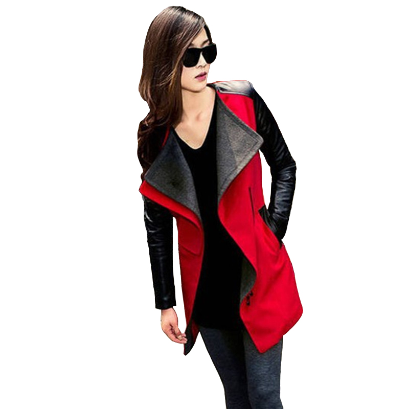 2017 New Fashion Hot Women Trench New Leather Sleeve Zipper Pocket Slim Temperament Women Outwear Lady Top JK317