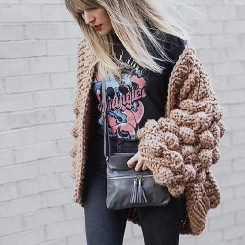 Tricot à la main Crochet chandail Cardigan 3D Floral Crochet grossier manteau creux col en v laine rugueuse lanterne à manches veste hauts amples