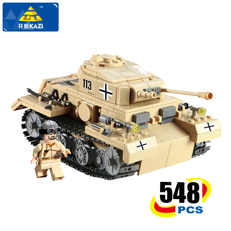 KAZI Building Blocks Military Tank Model Building Blocks 548+pcs Boys&Girls DIY Bricks Playmobil Toys For Children Holiday Gift