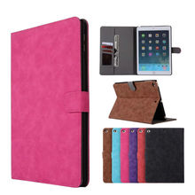 """For New iPad 2017 PU Leather Case Slim Retro Tablet Protective Stand Shell For Apple iPad air 1 2 9.7"""" Smart Cover + Card Slots"""