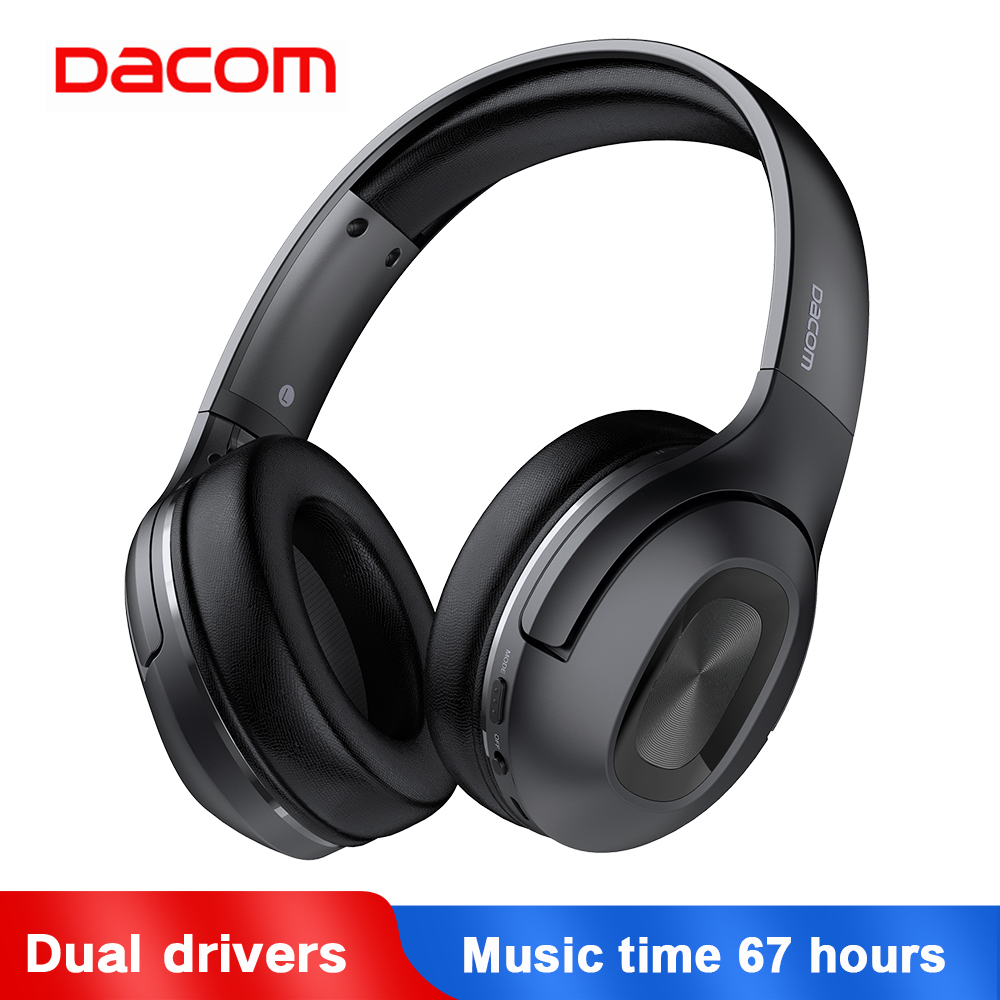 Dacom HF002 Headphones Bluetooth Earphone Wireless Headphone Over Ear Headset 5.0 Head Set Phones with Mic For Phones Computer-in Phone Earphones & Headphones from Consumer Electronics