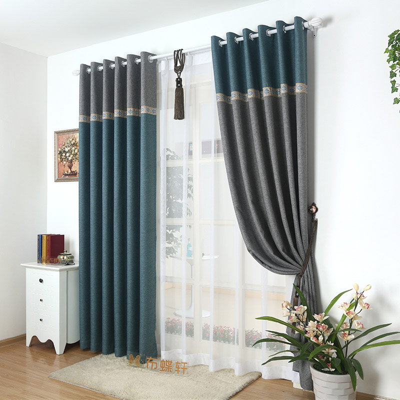 living room panel curtains 95 blackout thick window curtain fabric for bedroom linen 15500