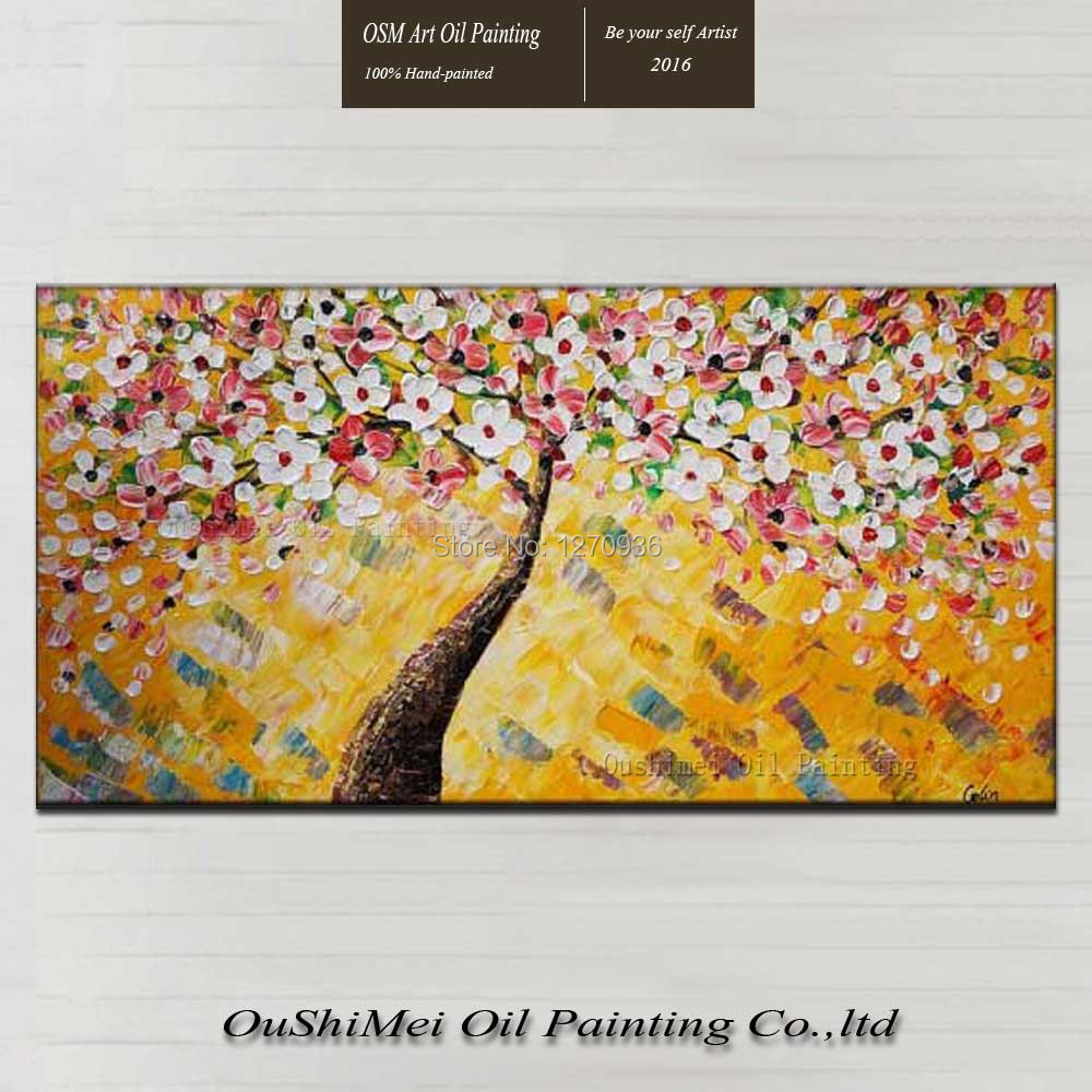 Abstract Cherry Blossom Bonsai Tree Oil Painting Floral Large ...