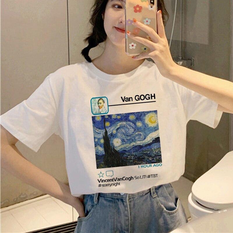 Harajuku Van Gogh Funny   T     Shirt   Women Ullzang 90s Aesthetic   T  -  shirt   Graphic Grunge Korean Style Tshirt Oil Art Top Tees Female