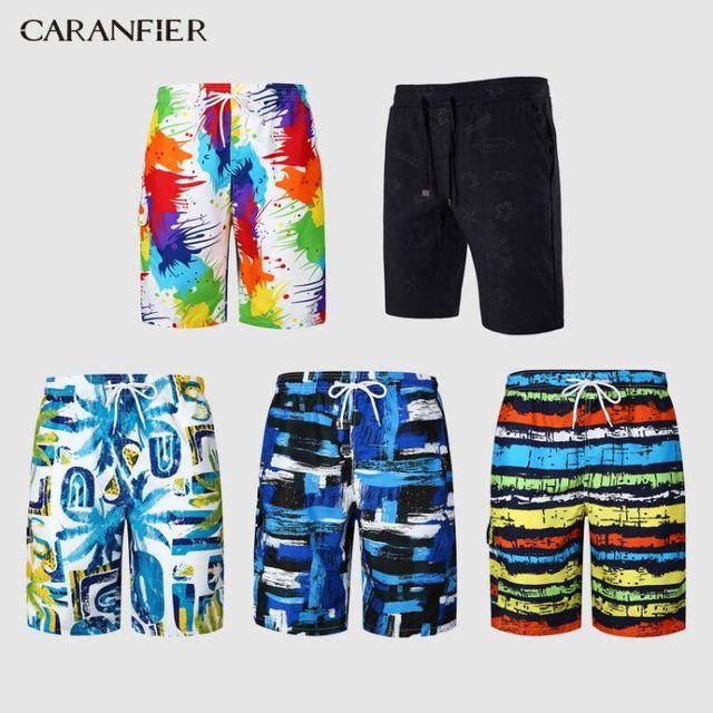 CARANFIER 2019 dos homens Quentes Imprimir Board Shorts Quick Dry Praia Shorts de Surf Bermuda Homens Boardshorts Beach Wear Curto Floral