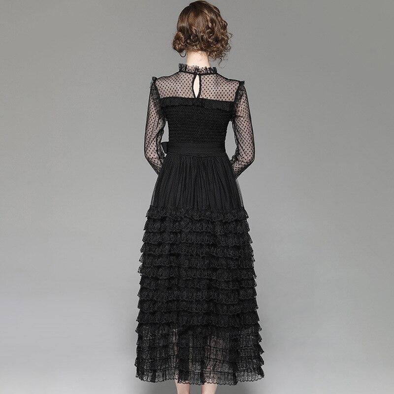 Brand Runway Designer Spring Dress 2019 Women Fashion Long Sleeve Black Sexy Dress Elegant Ruffles Layered Midi Lace Party Dress-in Dresses from Women's Clothing    3