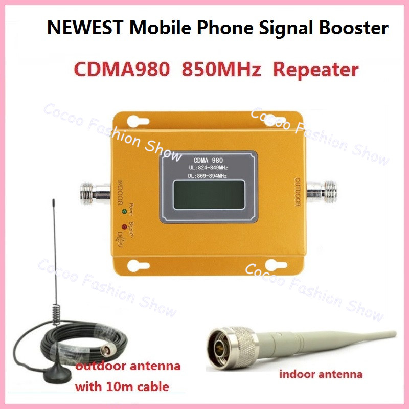 70dB LTE UMTS GSM CDMA 850MHz 2G 3G 4G Wireless Mobile Phone Repeater Signal Booster   Amplifier + Cable  Antenna