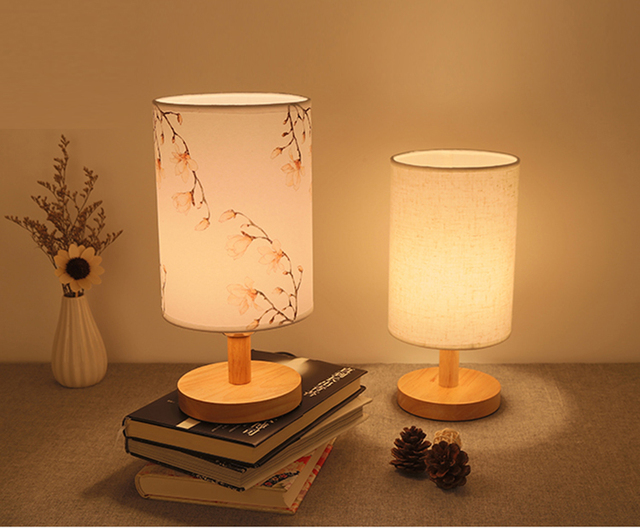 Moderne Nordic Kunststofftischleuchte Holz Lampe Leinen Lampenschirm ...