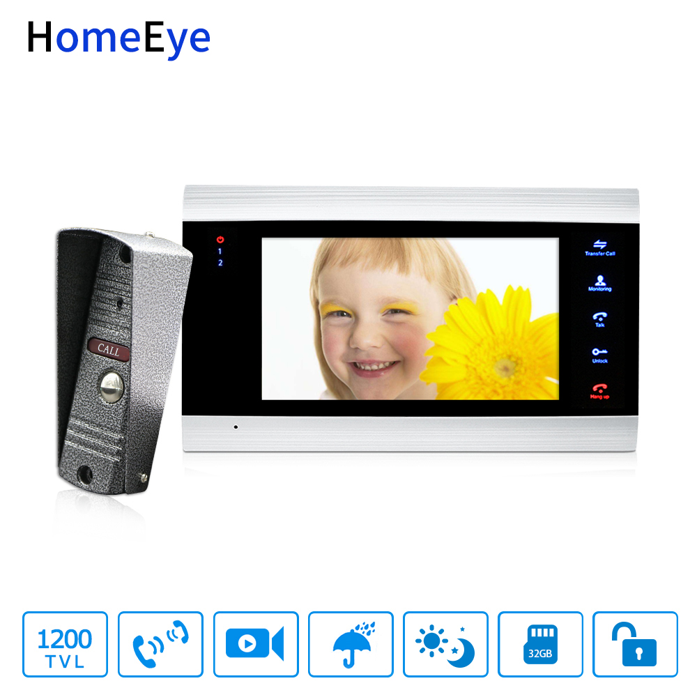 HomeEye 7'' Video Doorbell Video Intercom 1200TVL IP65 Waterproof Motion Detection Multi-languages OSD Menu Touch Button Screen