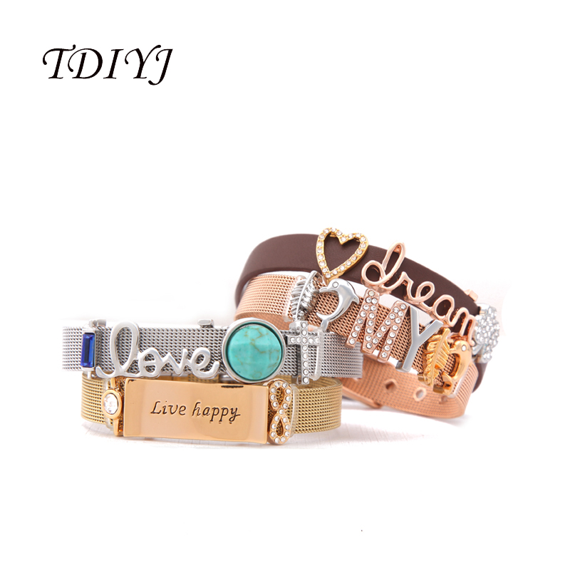 TDIYJ KEEP Collection Reversible Stainless Steel Leather Wrappable Keeper Bracelet with Crystal <font><b>Love</b></font> <font><b>My</b></font> Dream Slide Charms 4Set