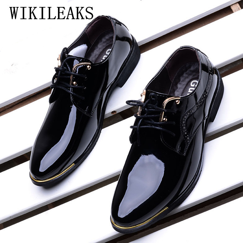 new business men shoes pointed toe patent leather black formal wedding dress shoes men 2018 oxford shoes for men chaussure homme new 2017 black leather men dress shoes men s flats formal business shoes wedding dresses shoes oxford shoes slip on round toe