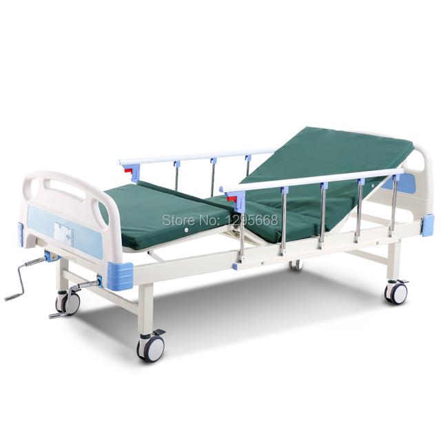Cofoe ABS multifunções Medical hospital ajustável carebed COM RODÍZIOS da Dobro-Manivela Cama De Enfermagem