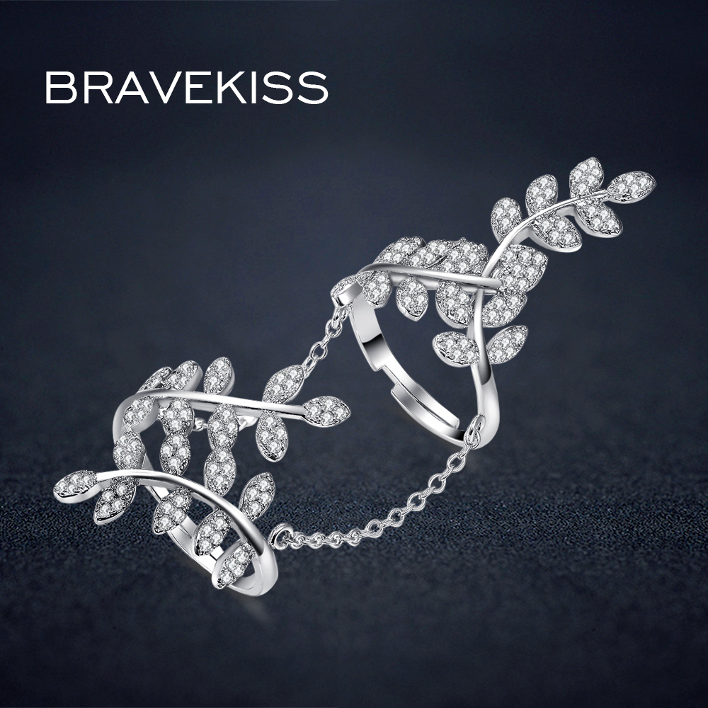 BRAVEKISS delicate micro pave cz stone leaf  full finger rings with chain womens hollow rings bands anillo donna jewelry BUR0266