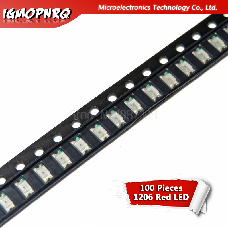 100pcs Red 1206 SMD LED Diodes Light 3216
