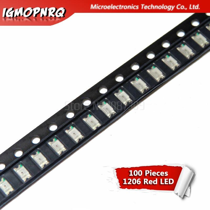 100pcs Red 1206 SMD LED Diodes Light 3216