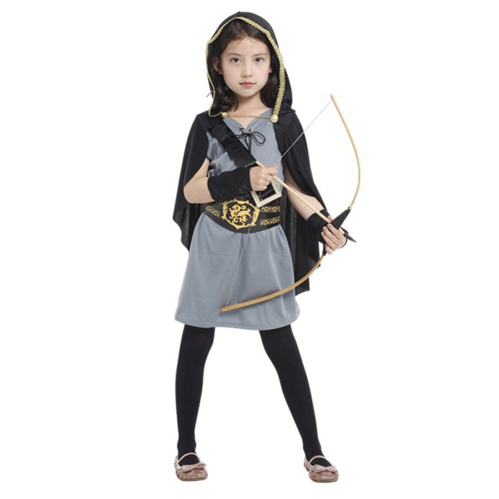 kids girls hooded huntress costume halloween fancy dresses costume