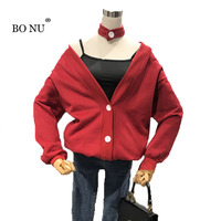 BONU Back Front V Neck Harajuku Loosen Pullover Jacket Women Streetwear Halterneck Sweatershirt Single Breasted Solid