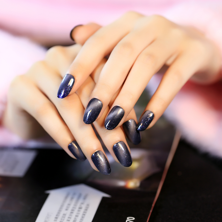 Mysterious Style Grey Blue Cat Eyes False Nails 24 Pcs Full Cover Round Head With Glitter Finished Nail Tips Glue Sticker In From Beauty