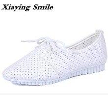 Xiaying Улыбка Новых Квартир Женщин Моды Случайные Кружева Обувь Полые Мокасины Brogue Твердого Медсестра Обувь Острым Носом Резина Мать Обувь