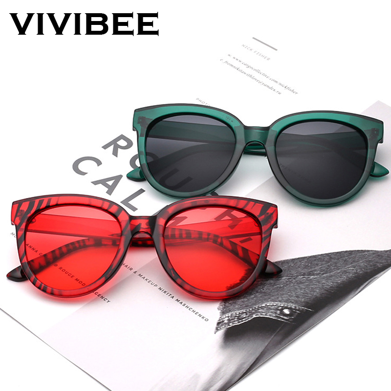 VIVIBEE Red Big Oversize Sunglasses Women Retro Sun 80s Glasses UV400 Fashion Brand Designer Vintage 2019 Trend Shades