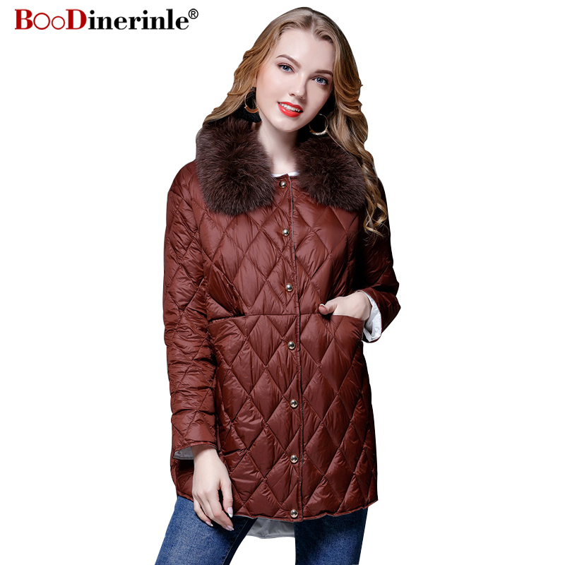 Winter Jackets for Women European Style 90% White Duck   Down     Coat   Female Casual Detachable Fur Collar Warm Outwear Parka YR117