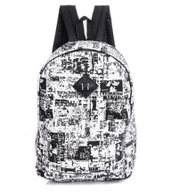2016 новая мода холст граффити рюкзак Персонализированные Граффити Газеты большой мешок школы lemochic рюкзаки для девочек-подростков