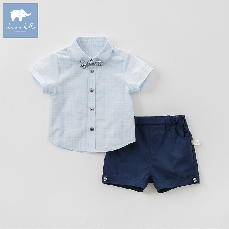 Dave bella baby clothing sets boys summer with tie suits children shirt+short 2 pcs sets toddler fashion outfits DB8272 db5073 dave bella spring baby boys sports clothing sets turn down collar shirt pants casual boys sets