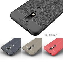 For Nokia 7.1 Case 2018 Silicone Carbon Fiber Rugged Armor Soft Back Cover Phone Fundas Coque Etui Cases
