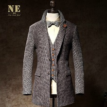 EARL JOEL high quality 2015 men 10% wool super slim long winter plaid warm business party wedding groom casual suits blazers 3XL