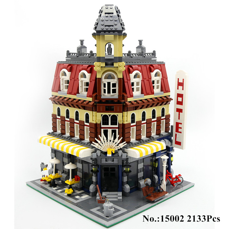 H&HXY IN STOCK 2133Pcs 15002 Cafe Corner Model Building Kits Blocks Kid DIY Brick Toy Gift LEPIN Compatible With 10182 2133pcs lepin 15002 building blocks bricks kits kid cafe corner diy educational toy children holiday gift 10182